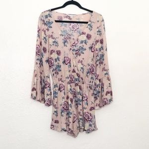 American Eagle Outfitters Purple Floral Romper XS